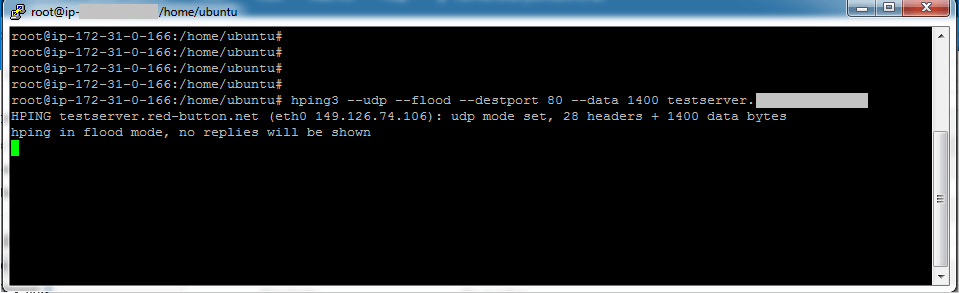 Hping is used to run a UDP (--udp) flood (--flood) against a domain on port 80 (--dstport 80) with large packet size (--data 1400)